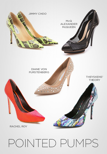 pumps, shoes, spring 2013 shoes, shoe trends, pointy toe pumps, snakeskin