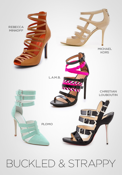 heels, shoes, sandals, footwear, strappy shoes, buckle shoes, spring 2013 shoes