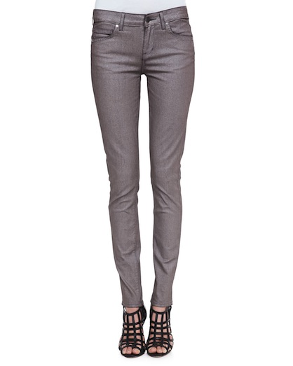 Metallic jean rich and skinny trend