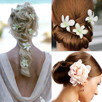 Spring Wedding Floral Accents Hairstyle