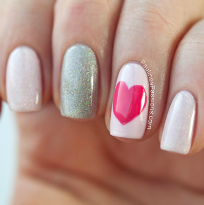 A Simple And Sweet Valentineu0027s Day Manicure Is Something That Is Appealing  To Every Lady. This Mani Offers An Easy To Do Heart Shaped On A Single Nail,  ...