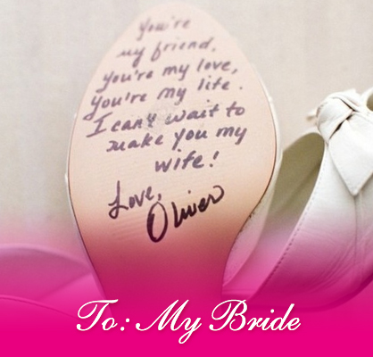 wedding day bride note on heels