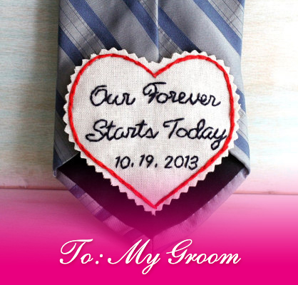 wedding day groom heart embroidered patch