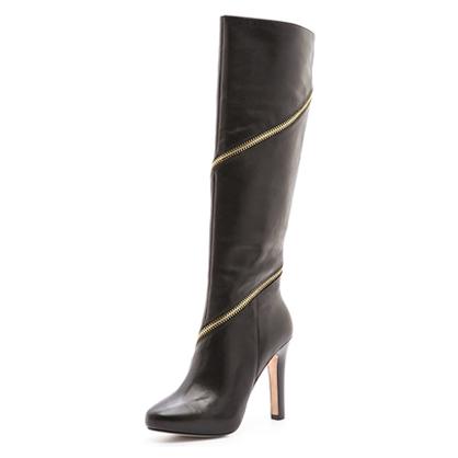 DVF Tall Zipper Black Boots
