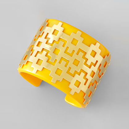 Yellow and Gold Tory Burch Cuff