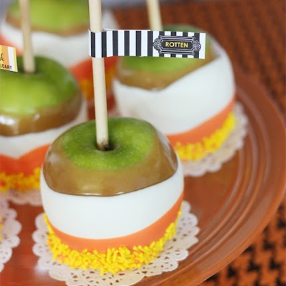 Halloween Dessert: Candy Corn Caramel Apple