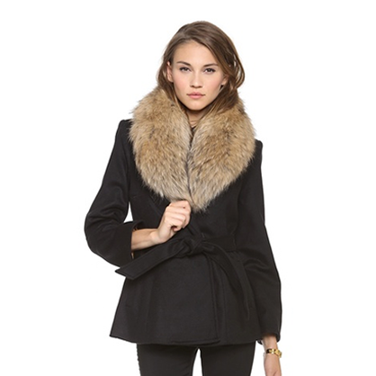 Alice + Olivia Coat with Fur Collar