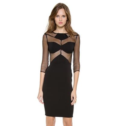 Mesh Cut Out Black Dress