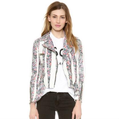 Floral Leather Moto Jacket