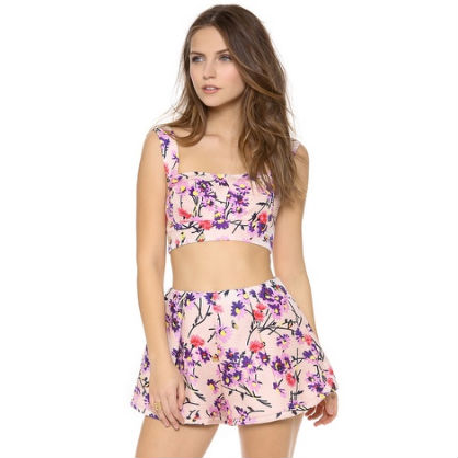 Floral Bustier Top and Shorts