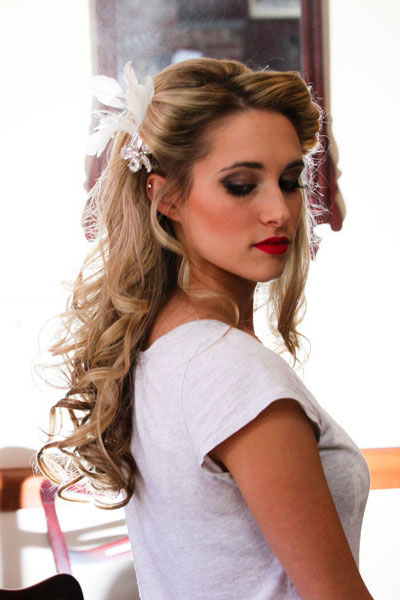 Vintage wedding hairstyles half up half down ponytail