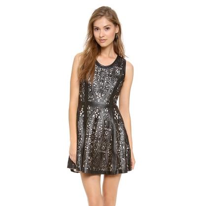 Laser Cut Leather Black Dress