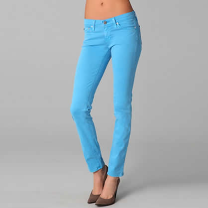 Neon light blue skinny jeans