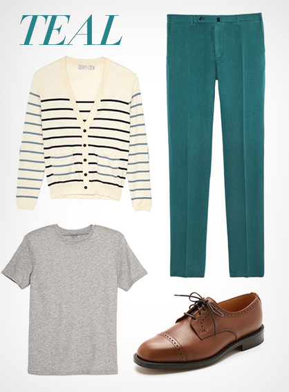 Menswear Teal blue trend