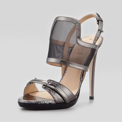 Reed Krakoff Snakeskin Mesh Sandals