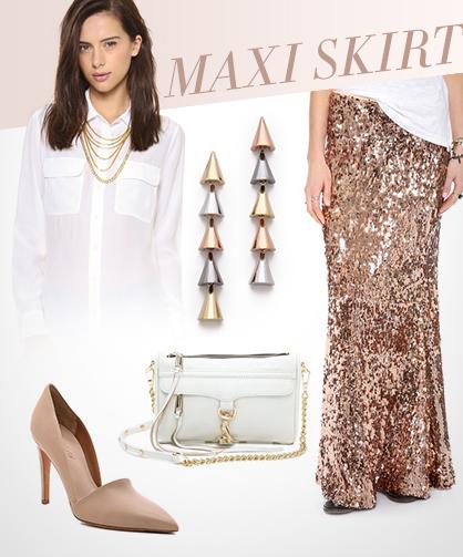 Metallic Spring 2014 trend Maxi Skirt