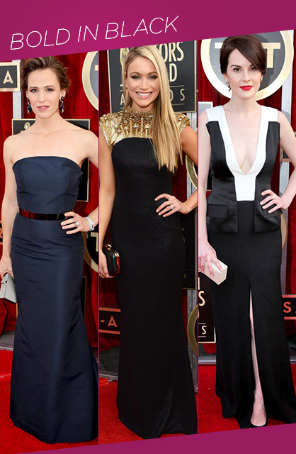 Sag awards bold in black red carpet trends