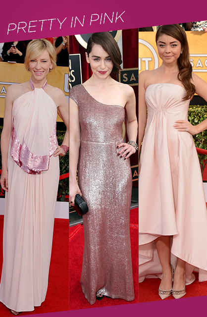Sag Awards Pretty in Pink Red Carpet Trends