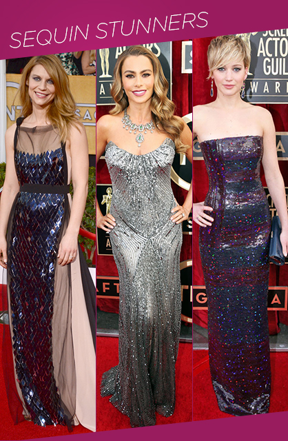 Sag Awards Stunning in sequins red carpet trends