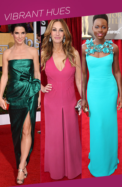 sag awards vibrant hues red carpet trends