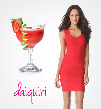 Dresses inspired by cocktails: Strawberry Daiquiri