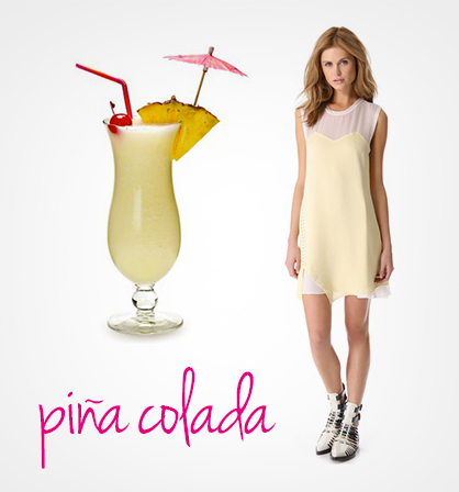 Dresses inspired by cocktails: Pina Colada
