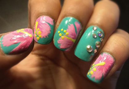 Summer Nail Art Hibiscus Flower