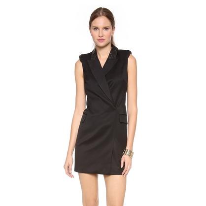 Tuxedo Inspired Black Dress