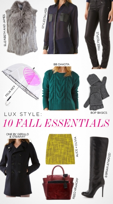 LUX Style: 10 Fall 2012 wardrobe essentials