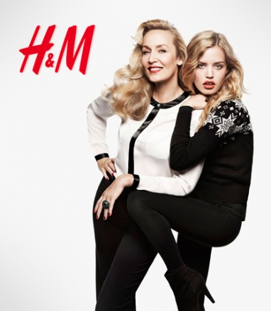 Cover models Jerry Hall and Georgia May Jagger featured in H&M Christmas ad