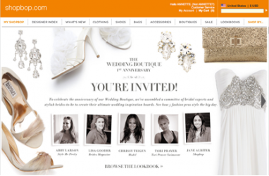Shopbop celebrates the Wedding Boutique's 1-year anniversary with feature and contest on Pinterest