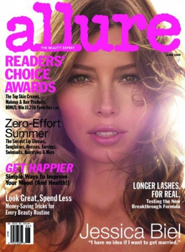 On the Front Cover of Allure June 2009 Magazine: Jessica Biel