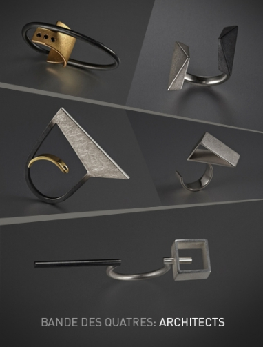 Erin Wahed's Bande Des Quatres offers architectural jewelry