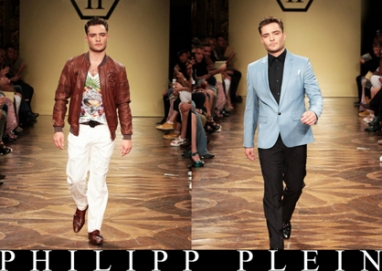 Ed Westwick makes runway debut in Philipp Plein's Spring 2013 Men's Fashion Show