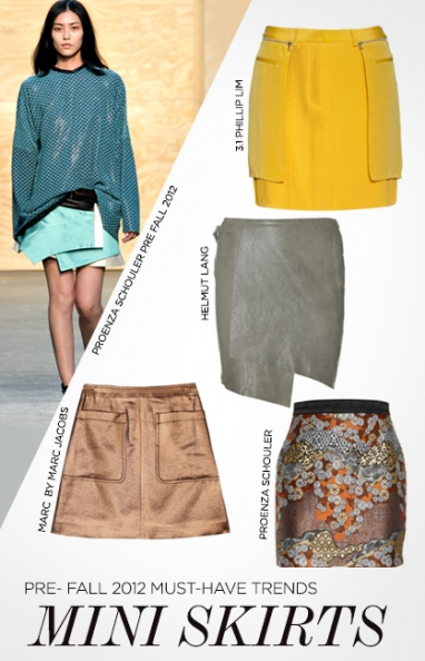 Pre-Fall 2012  trends: mini skirts