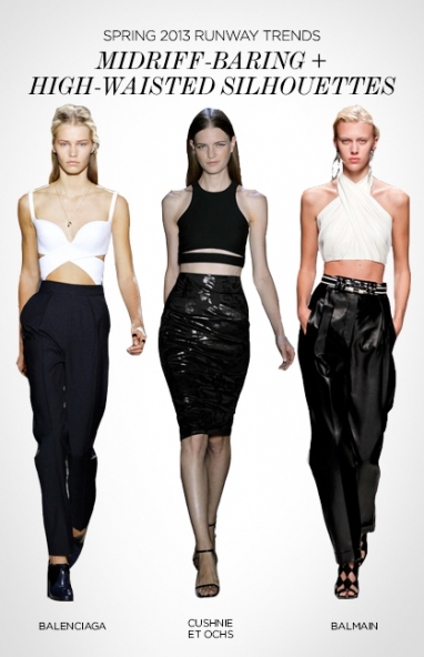 Spring 2013 runway trends: midriff-baring and high-waisted silhouettes