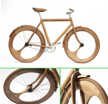 Eco-friendly handmade bicycle made of nearly all wood