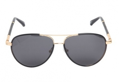 Leather and Acetate Aviator Sunglasses