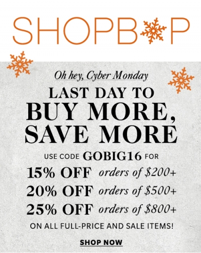 Shopbop GOBIG16 Sale | LadyLUX - Online Luxury Lifestyle, Technology and Fashion Magazine
