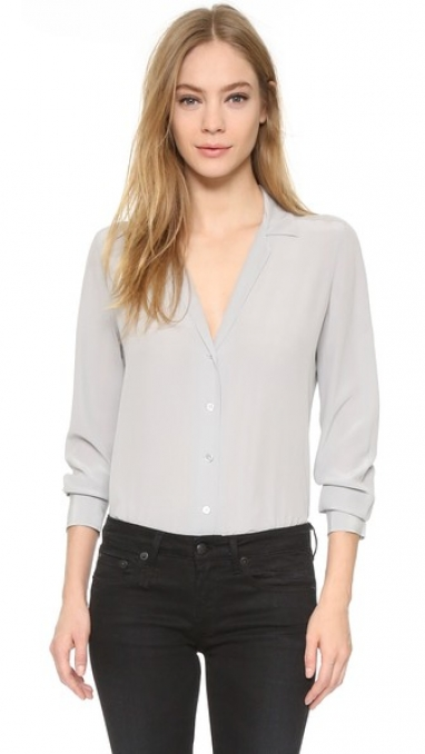 Deep V Button-Down Blouse by Equipment