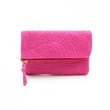 Fuschia Leather Clutch