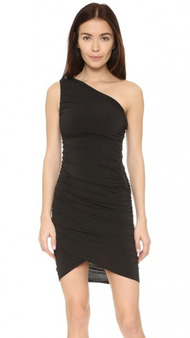 AIR One Shoulder Black Wrap Dress