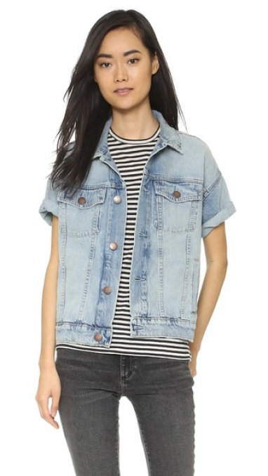 Denim Rolled Sleeve Trucker Jacket