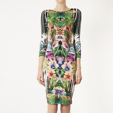 Botanical Body-Con Dress