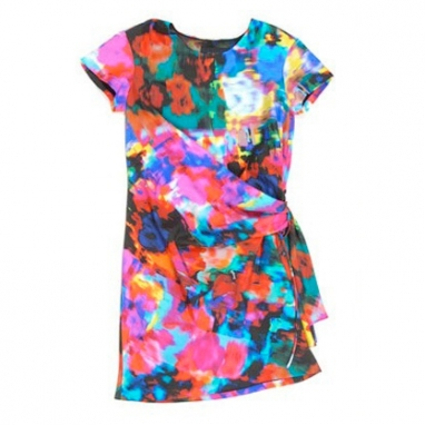 Knotted Watercolor Silk T-Dress