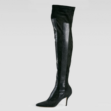 Crocodile Over-The-Knee Boots