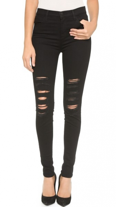 Distressed Black High-Waisted Skinny Jeans