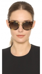 Prada Thick Square Frame Aviators in Opal Green