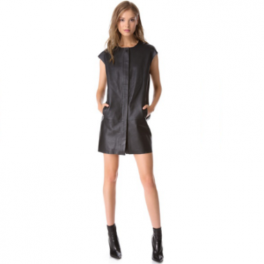 Sleek Leather Mini Dress