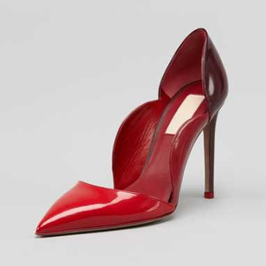 Red Patent Scalloped Pump